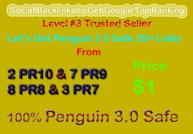 Get Manual Penguin Safe 28 PR9, PR8, PR7, PR6 Social Profile Backlinks