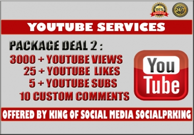 Normal Package 2 will give you 3000 + Youtube Retention views+ 25 Yt likes, 5 subs and 10 custom comments plus ping and index your video