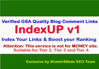 IndexUP v1 - 3,000 Verified GSA Quality Blog Comment Links