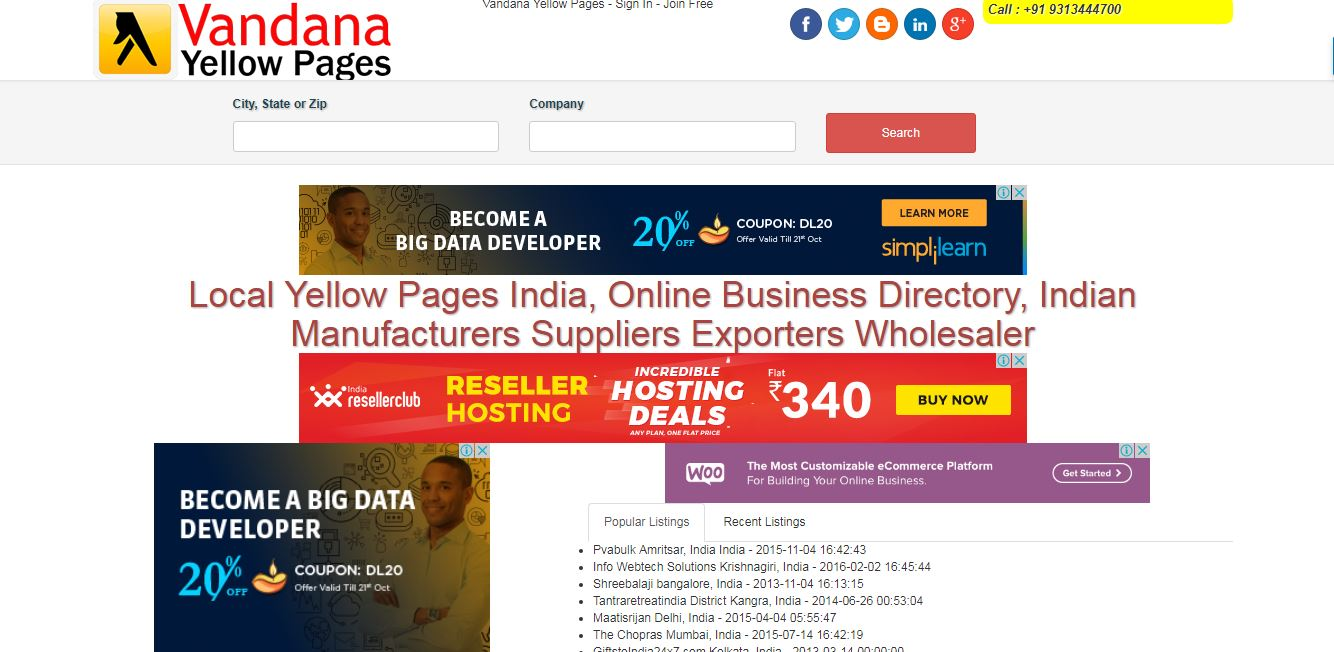 Vandana YELLOW PAGES Brings you a comprehensive online business directory. PoweredIndia Yellow Pages lets you discover local Online businesses in your city. Enjoy exploring the site exactly as you had cherished our directory for last 3 years! Get all information you need in PoweredIndia Yellow Pages including maps & directions, photos, videos related to businesses and much more