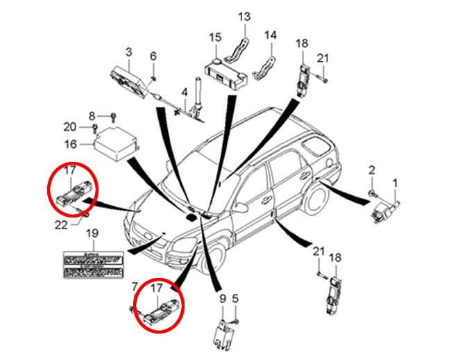 2006-2008 Hyundai Tiburon Air Bag Impact Sensor