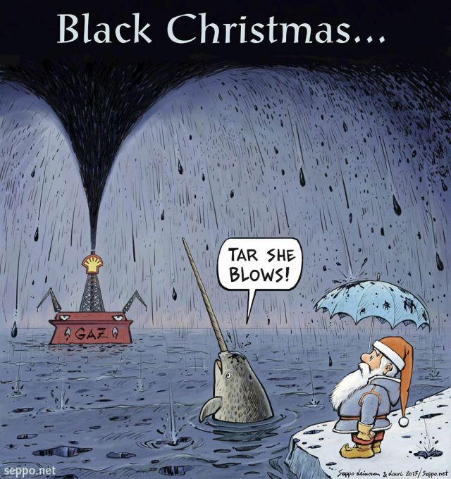 Climate Santa And Arctic Oil And Black Christmas