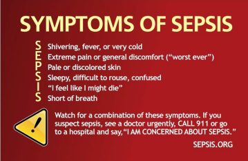 list of symptoms of sepsis