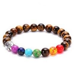 bracelet Bouddha Oeil de Tigre et 7 chakras Argent