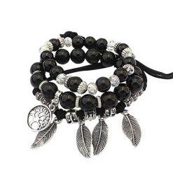 Bracelet Arbre de la Vie Noir Amérindien