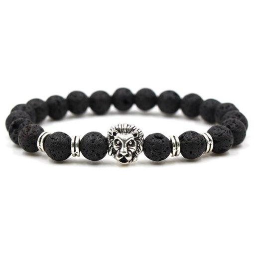 Bracelet Homme Perle Lion pierre de lave argent