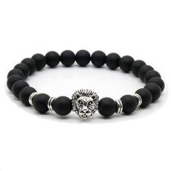 Bracelet Homme Perle Lion pierre mat