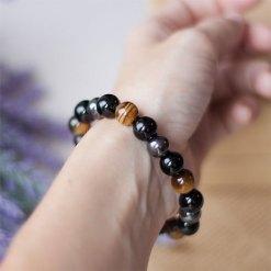 Bracelet oeil de Tigre hématite et Obsidienne Triple Protection
