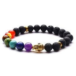 Bracelet 7 chakras pierre de lave bouddha