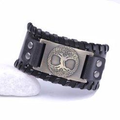 Bracelet Manchette Arbre de Vie Odin noir or