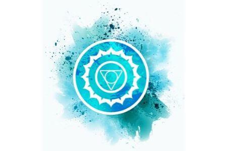 Symbole chakra de la gorge bleu