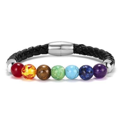 Bracelet 7 Chakras pour Homme Noir