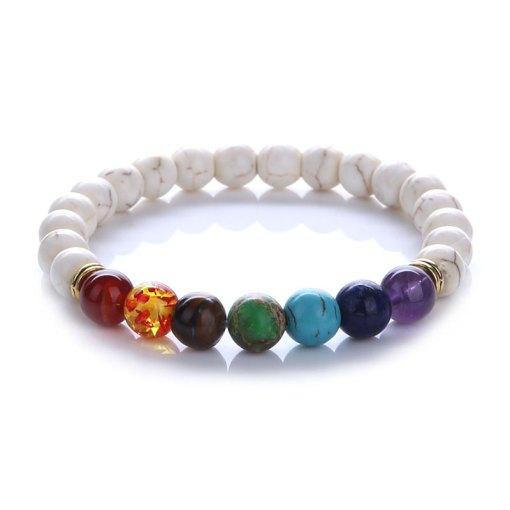 Bracelet sept chakras turquoise blanche