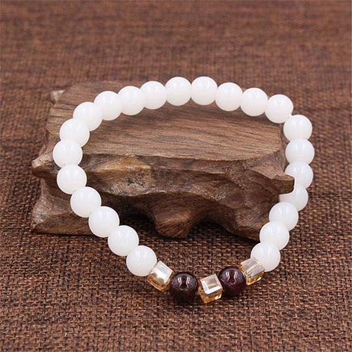 Bracelet pierre blanche calcedoine