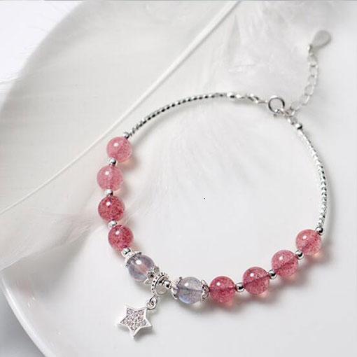 Bracelet Pierre de Lune et Quartz Rose