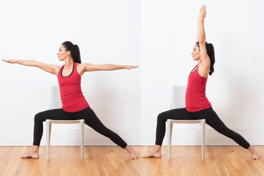 yoga sur chaise guerrier 2