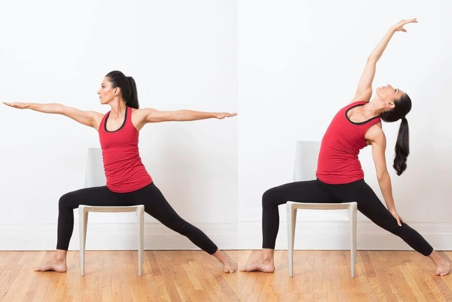 yoga sur chaise guerrier inversé