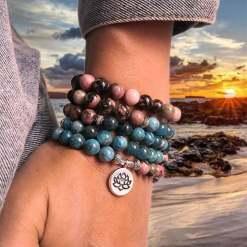 Bracelet Mala Rhodonite - Mala Tibétain - Sept Chakras