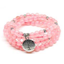 Rose Quartz Mala Bracelet - Mala Tibétain - Sept Chakras