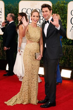 Actress Emily Blunt and her husband, actor John Krasinski at the 70th annual Golden Globe Awards in Beverly Hills