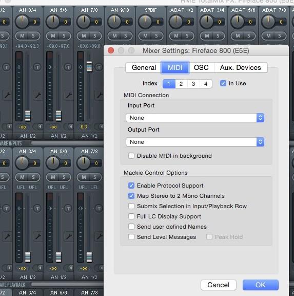 RME OSC MIDI mix