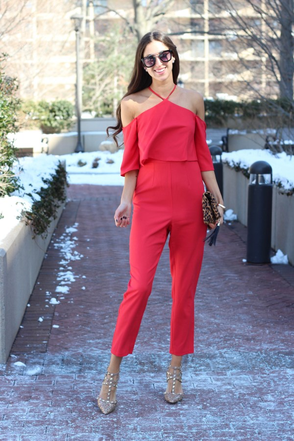 statement red jumpsuit