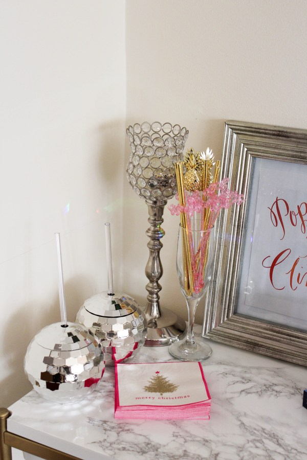 how to decorate your bar cart for the holidays