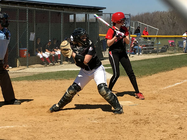 Senior catcher Carlie Gaylord throws down to first in a game for the Sequoits.