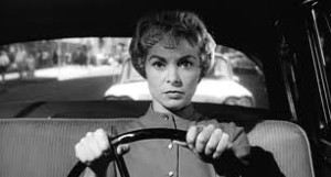 We identify with Marion Crane (Janet Leigh) as she flees Phoenix with $40,000 in stolen cash.