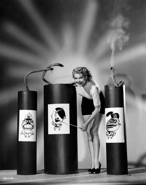 Hollywood star Marie McDonald ignites the dictators of the Axis powers. Imagine if a Hollywood star posed for such a picture today. The politically correct class would scream racism.