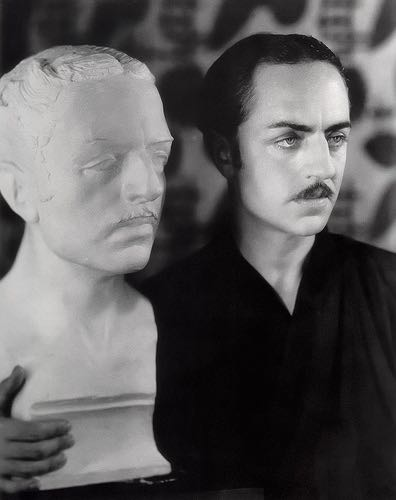 William Powell with a sculpture of William Powell, 1920s.