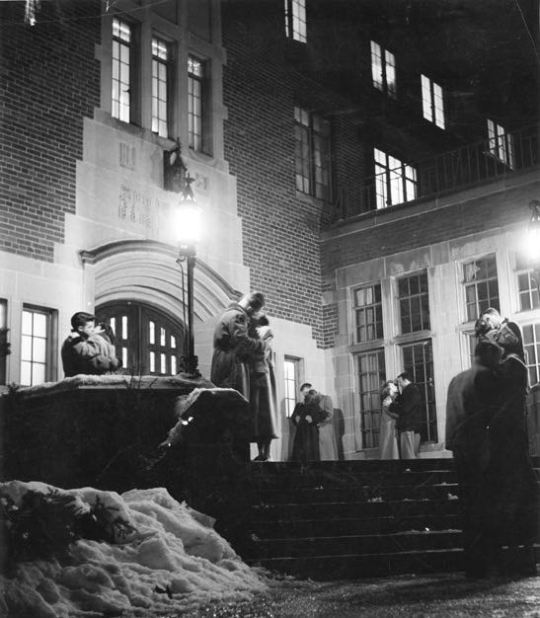 Kissing before curfew, 1950 Michigan State University.