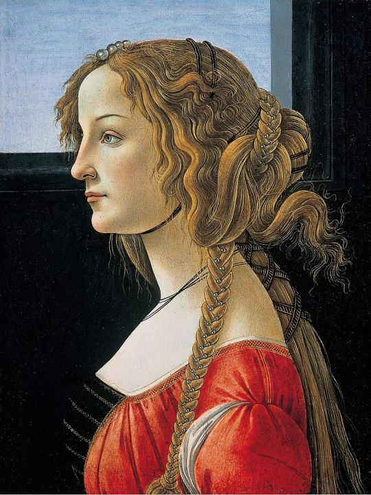 Sandro Botticelli, Portrait of a Young Woman,  after 1480, Tempera on panel,  47.5 x 35 cm.
