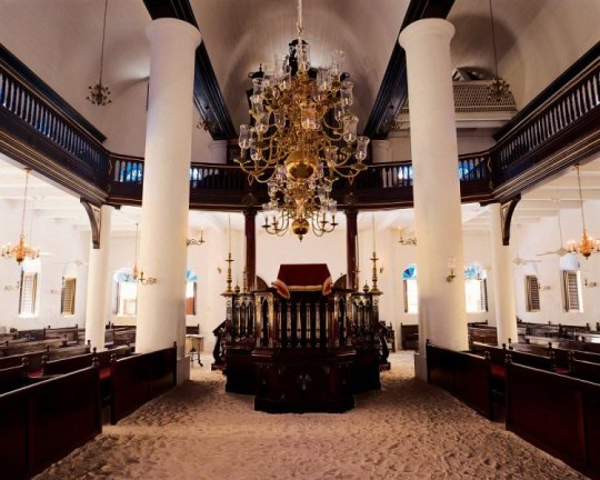 Main sanctuary of the Mikve Israel Emanuel Synagogue.