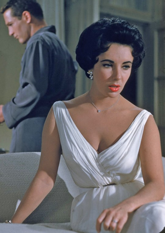 Elizabeth Taylor in the Rose designed Hot Tin Roof white chiffon dress.