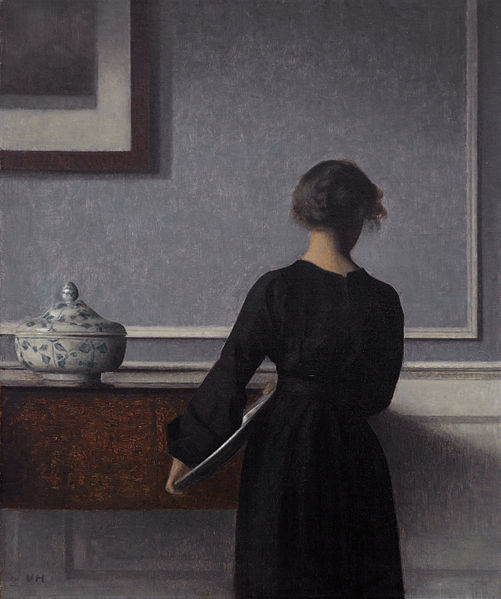 """Vilhelm Hammershøi (1864–1916) """"Interior with Young Woman from Behind"""" 1904, oil on canvas, 60.5 × 50.5 cm (23.8 × 19.9 in)"""