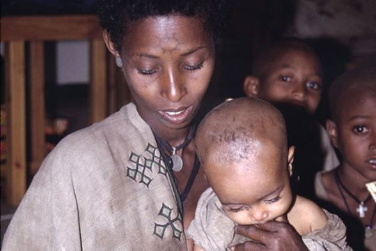 Ethiopian Jews receive Matzah via the JDC, 1992. Most of these Jews have been airlifted to Israel.