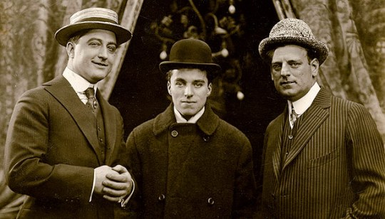 Francis X. Bushman, Charlie Chaplin and G.M. Anderson in Chicago, 1914.
