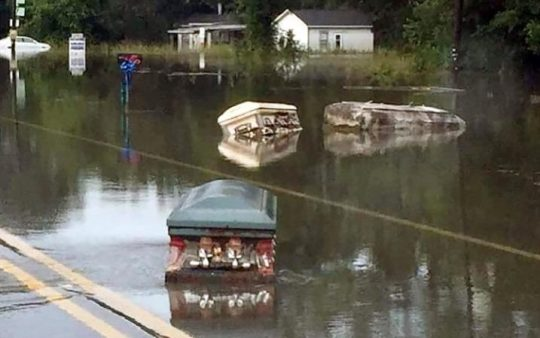 Caskets floating down the road in Louisiana.
