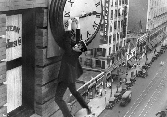Harold Lloyd is feeling unsafe in Safety Last, 1923