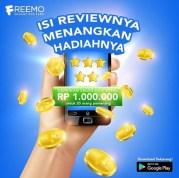 Poster Review Aplikasi FREEMO Berhadiah Saldo OVO Untuk 20 Pemenang