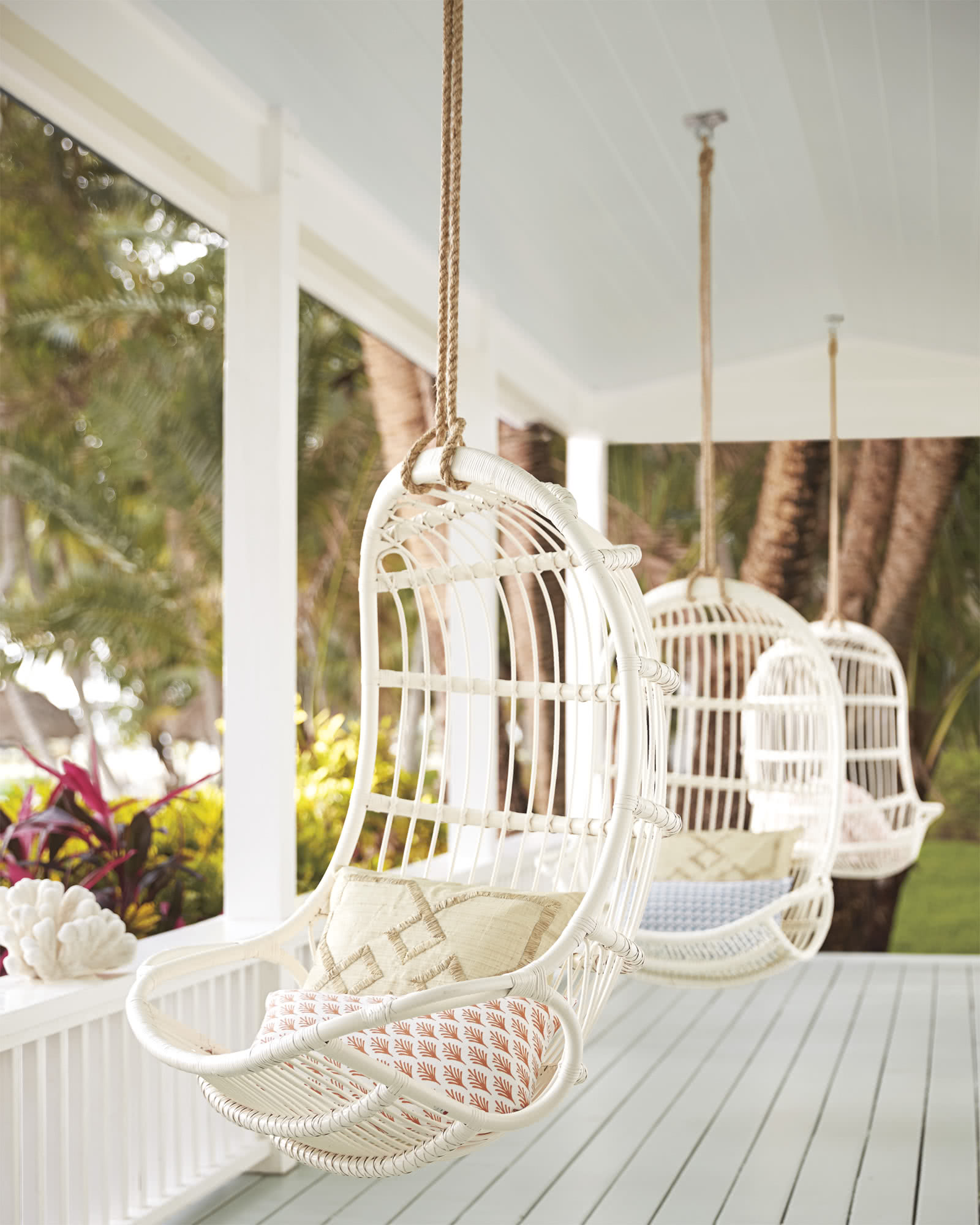 hanging chair next garden table rattan chairs serena and lily