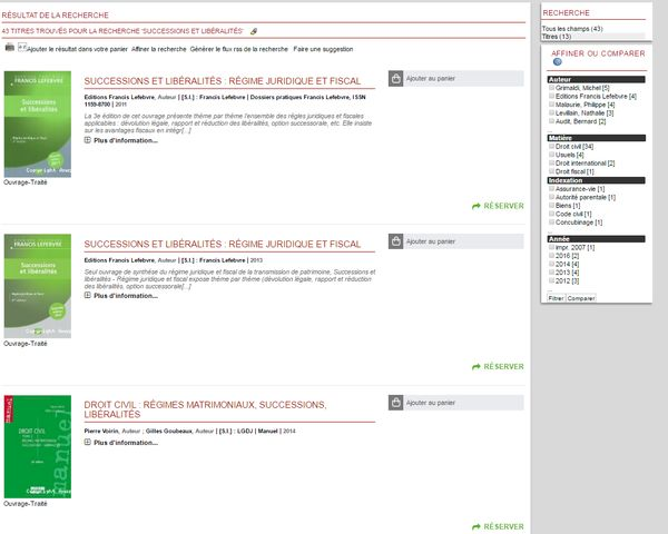 PMB : affichage des résultats de recherche