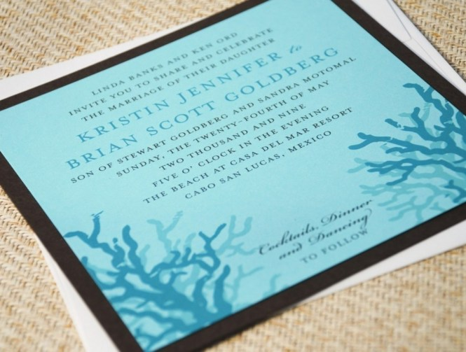 Orange Blue Modern Mexico Wedding Invitations Ilration