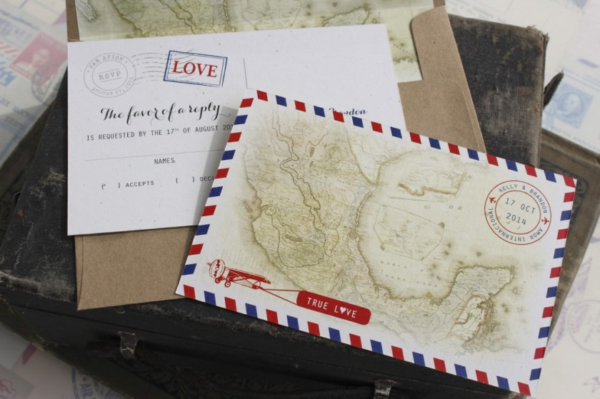 Air Mail Wedding Invitation