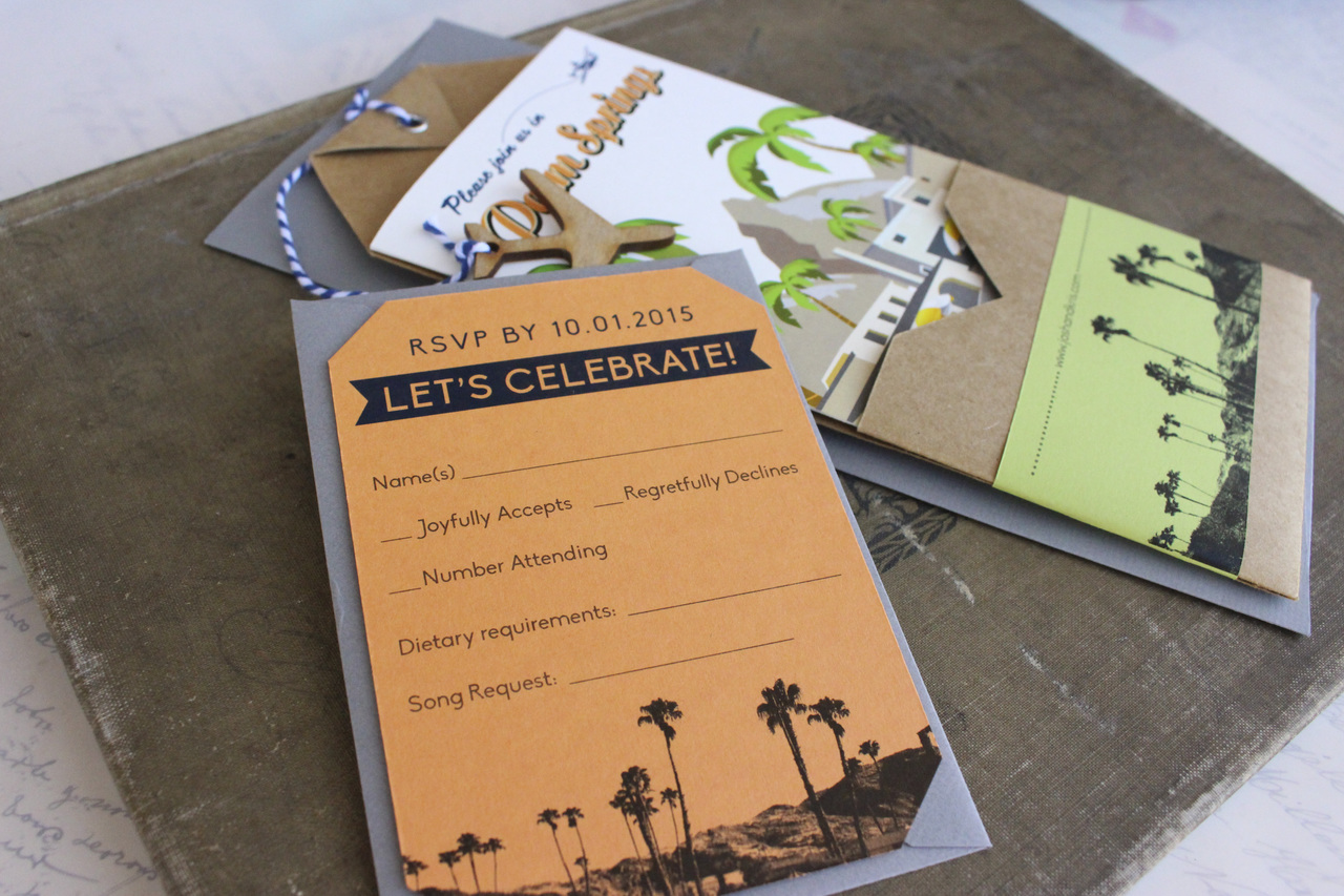 Travel Brochure Wedding Invitation Palm Springs CA
