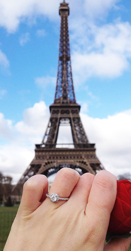 A Parisienne Proposal With A Halo Of Diamonds