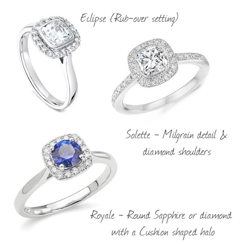 cushion cut diamonds engagement rings