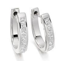 1 Carat Princess cut Diamond Hoop Earrings