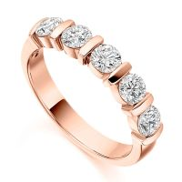 1 Carat Bar Set 5 Stone Diamond Half Eternity Ring